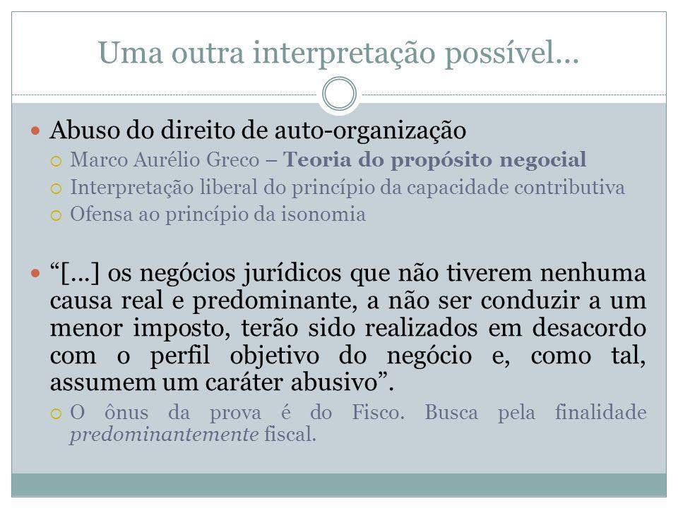 Uma outra interpretação possível... Abuso do direito de auto-organização Marco Aurélio Greco – Teoria do propósito negocial Interpretação liberal do p