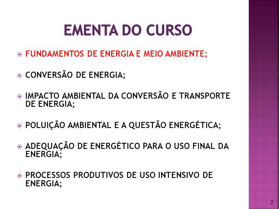 FUNDAMENTOS DE ENERGIA E MEIO AMBIENTE; CONVERSÃO DE ENERGIA; IMPACTO AMBIENTAL DA CONVERSÃO E TRANSPORTE DE ENERGIA; POLUIÇÃO AMBIENTAL E A QUESTÃO ENERGÉTICA; ADEQUAÇÃO DE ENERGÉTICO PARA O USO FINAL DA ENERGIA; PROCESSOS PRODUTIVOS DE USO INTENSIVO DE ENERGIA; 2
