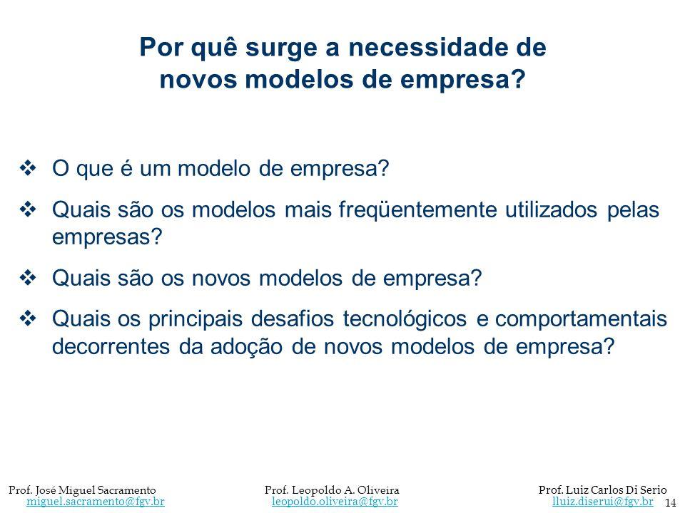 Por quê surge a necessidade de novos modelos de empresa? O que é um modelo de empresa? Quais são os modelos mais freqüentemente utilizados pelas empre