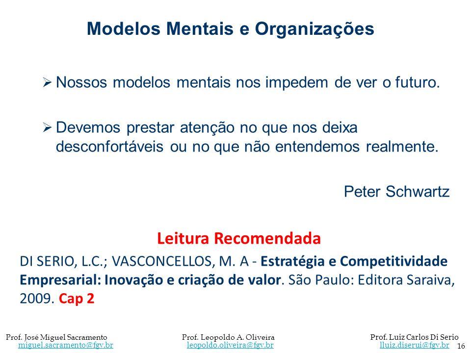 Modelos Mentais e Organizações Nossos modelos mentais nos impedem de ver o futuro. Devemos prestar atenção no que nos deixa desconfortáveis ou no que