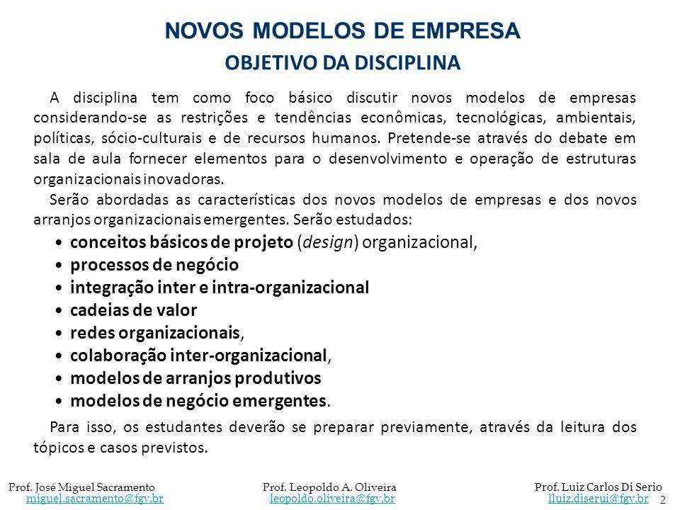 NOVOS MODELOS DE EMPRESA OBJETIVO DA DISCIPLINA A disciplina tem como foco básico discutir novos modelos de empresas considerando-se as restrições e t