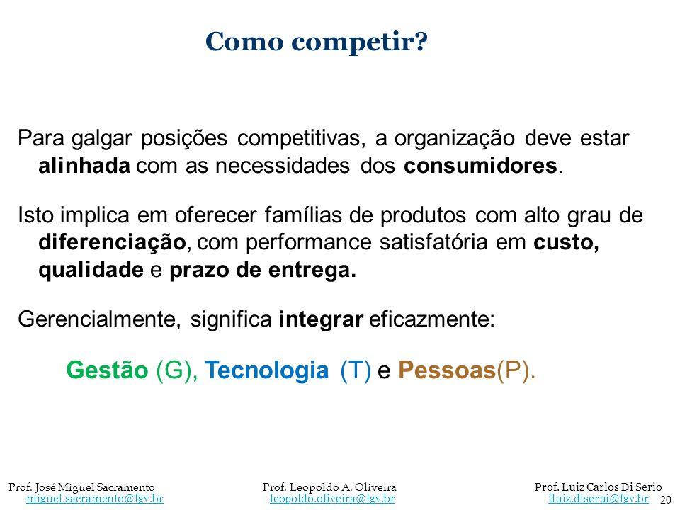Como competir? Para galgar posições competitivas, a organização deve estar alinhada com as necessidades dos consumidores. Isto implica em oferecer fam