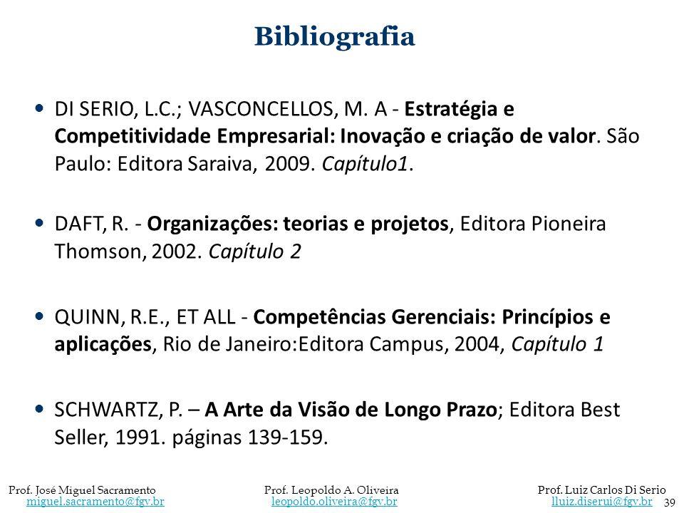 Bibliografia DI SERIO, L.C.; VASCONCELLOS, M. A - Estratégia e Competitividade Empresarial: Inovação e criação de valor. São Paulo: Editora Saraiva, 2