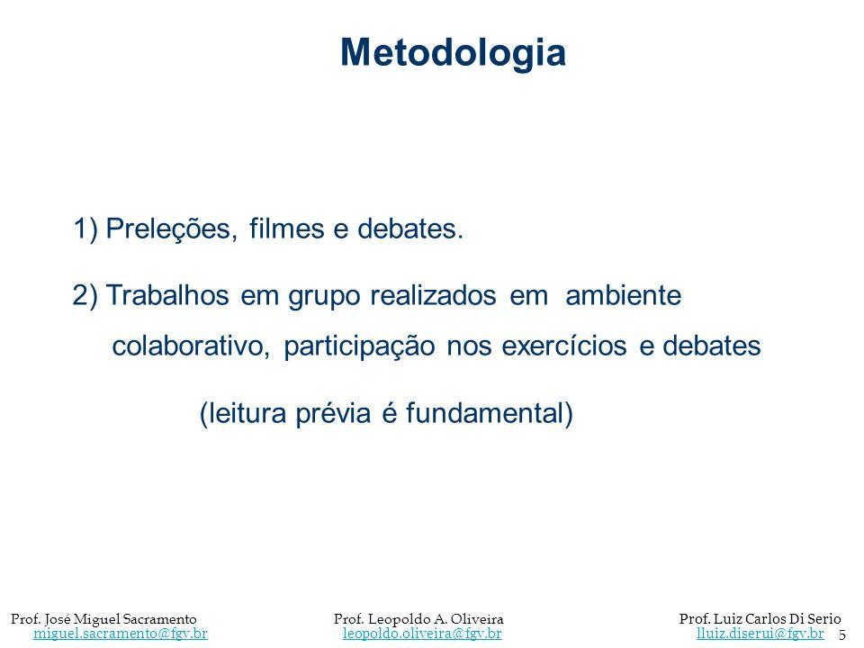 Metodologia 1) Preleções, filmes e debates. 2) Trabalhos em grupo realizados em ambiente colaborativo, participação nos exercícios e debates (leitura