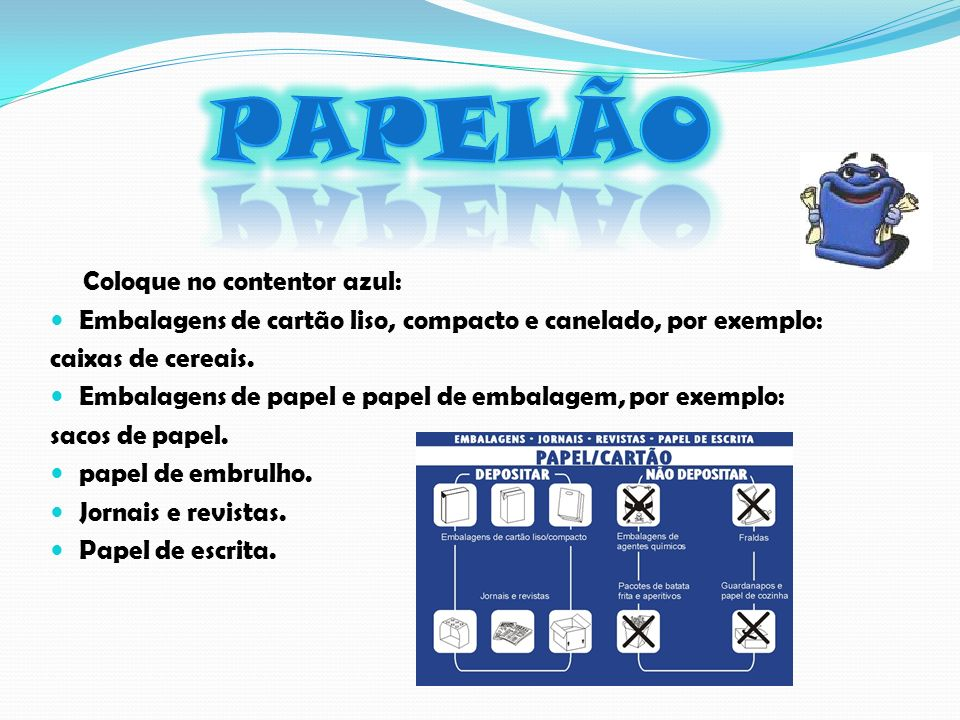 Coloque no contentor azul: Embalagens de cartão liso, compacto e canelado, por exemplo: caixas de cereais.