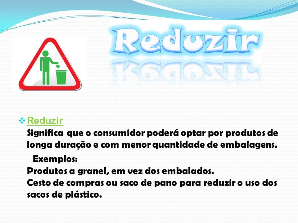 Reduzir Significa que o consumidor poderá optar por produtos de longa duração e com menor quantidade de embalagens.