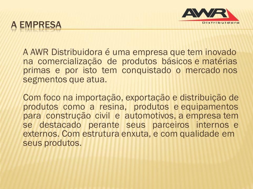 A AWR Distribuidora é uma empresa que tem inovado na comercialização de produtos básicos e matérias primas e por isto tem conquistado o mercado nos se