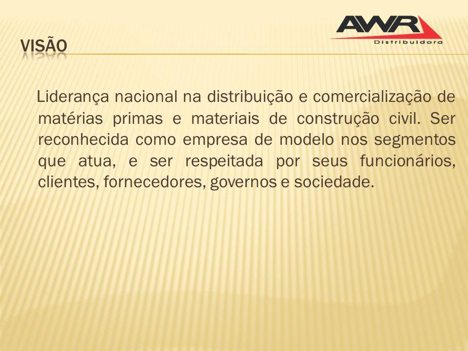 Liderança nacional na distribuição e comercialização de matérias primas e materiais de construção civil. Ser reconhecida como empresa de modelo nos se