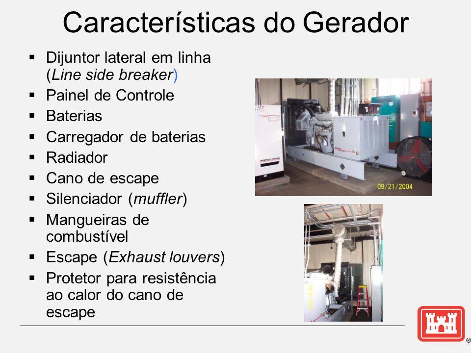 Características do Gerador Dijuntor lateral em linha (Line side breaker) Painel de Controle Baterias Carregador de baterias Radiador Cano de escape Silenciador (muffler) Mangueiras de combustível Escape (Exhaust louvers) Protetor para resistência ao calor do cano de escape