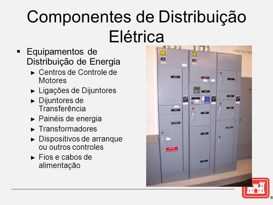 Componentes de Distribuição Elétrica Equipamentos de Distribuição de Energia Centros de Controle de Motores Ligações de Dijuntores Dijuntores de Transferência Painéis de energia Transformadores Dispositivos de arranque ou outros controles Fios e cabos de alimentação