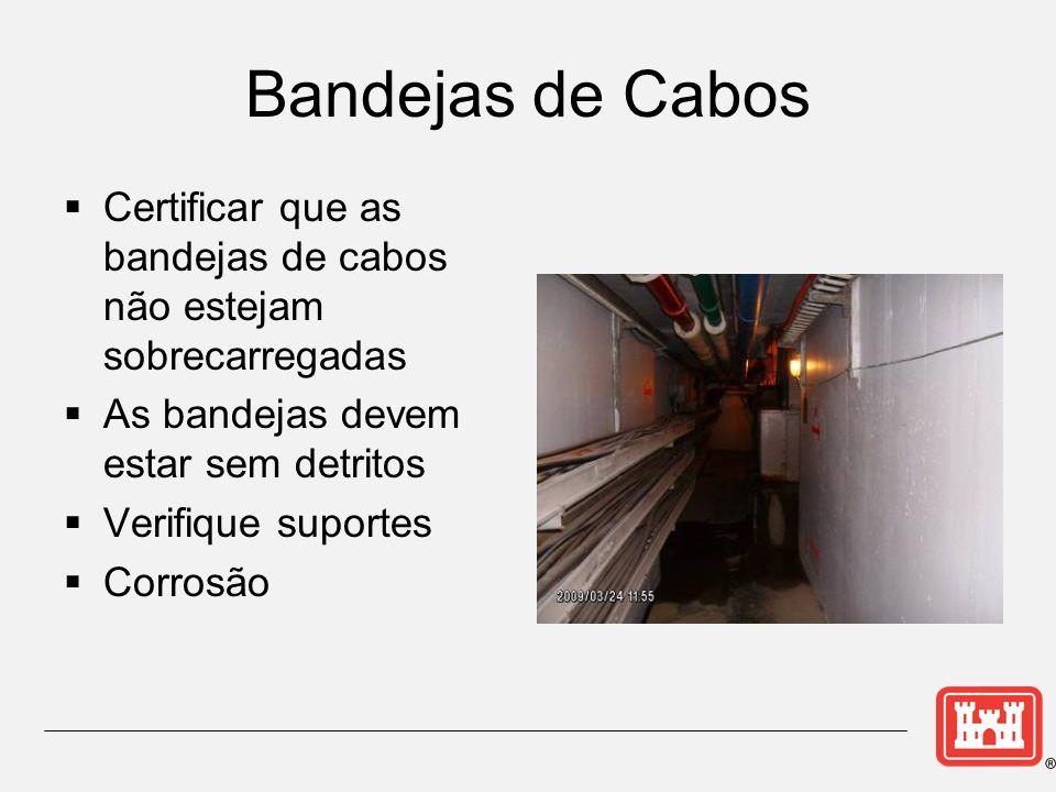 Bandejas de Cabos Certificar que as bandejas de cabos não estejam sobrecarregadas As bandejas devem estar sem detritos Verifique suportes Corrosão