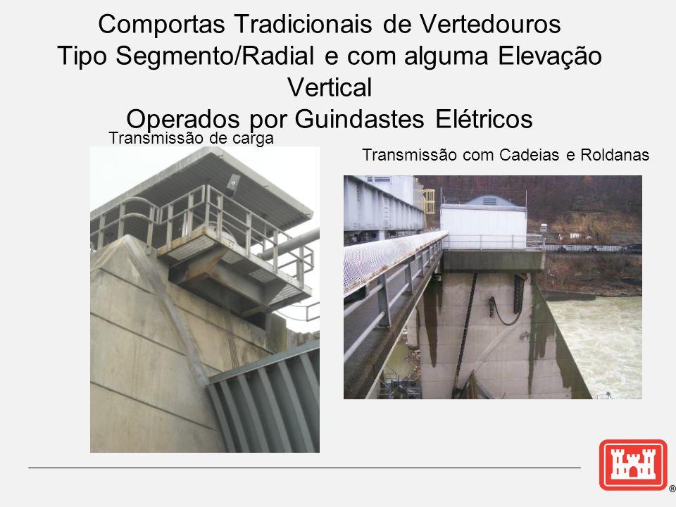 Comportas Tradicionais de Vertedouros Tipo Segmento/Radial e com alguma Elevação Vertical Operados por Guindastes Elétricos Transmissão com Cadeias e Roldanas Transmissão de carga