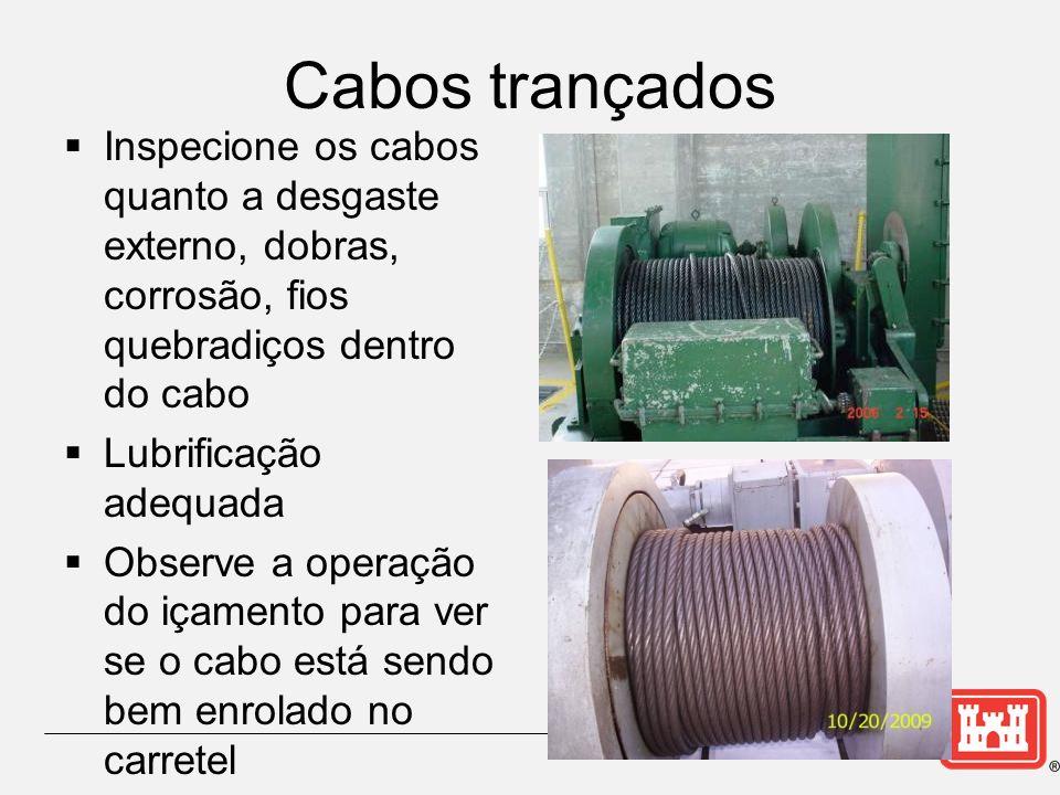 Cabos trançados Inspecione os cabos quanto a desgaste externo, dobras, corrosão, fios quebradiços dentro do cabo Lubrificação adequada Observe a operação do içamento para ver se o cabo está sendo bem enrolado no carretel