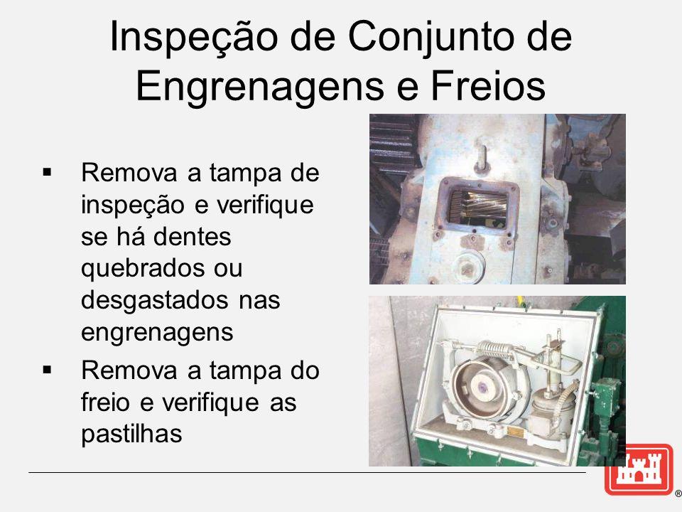 Inspeção de Conjunto de Engrenagens e Freios Remova a tampa de inspeção e verifique se há dentes quebrados ou desgastados nas engrenagens Remova a tampa do freio e verifique as pastilhas