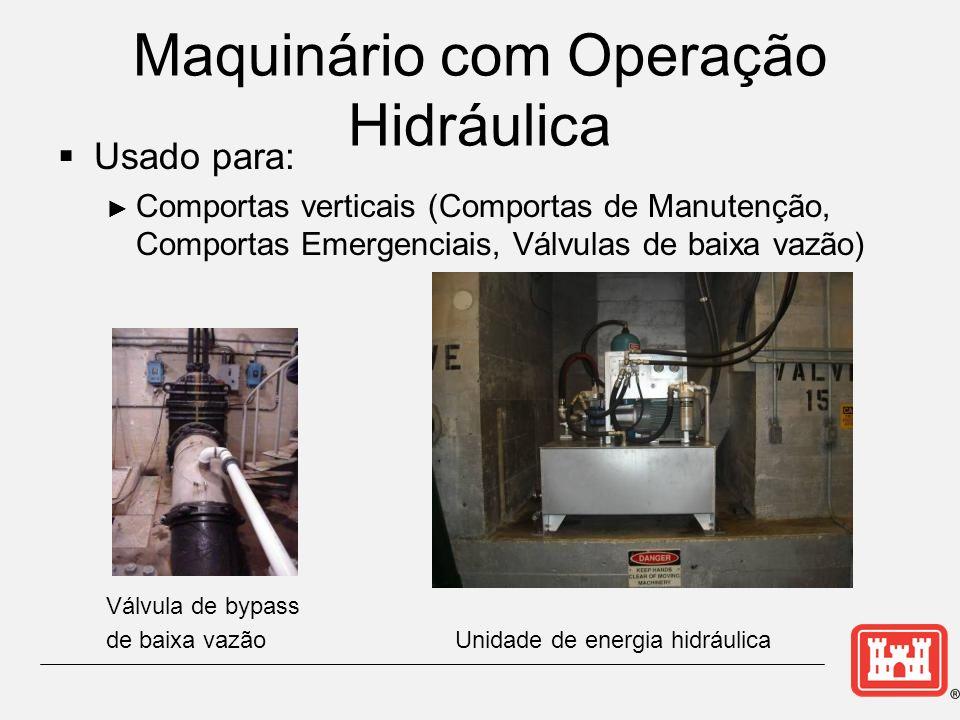 Maquinário com Operação Hidráulica Usado para: Comportas verticais (Comportas de Manutenção, Comportas Emergenciais, Válvulas de baixa vazão) Válvula de bypass de baixa vazão Unidade de energia hidráulica