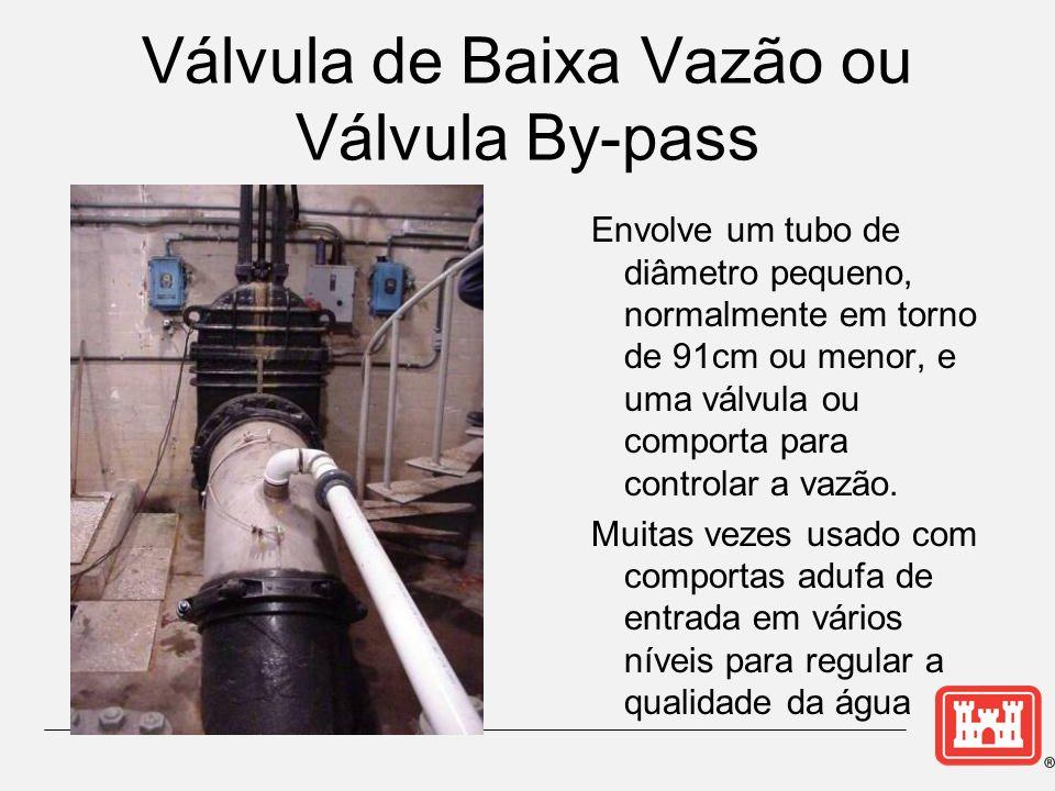 Válvula de Baixa Vazão ou Válvula By-pass Envolve um tubo de diâmetro pequeno, normalmente em torno de 91cm ou menor, e uma válvula ou comporta para controlar a vazão.