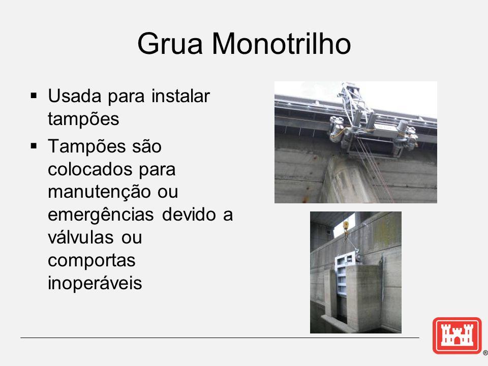 Grua Monotrilho Usada para instalar tampões Tampões são colocados para manutenção ou emergências devido a válvulas ou comportas inoperáveis