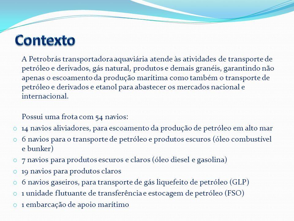 A Petrobrás transportadora aquaviária atende às atividades de transporte de petróleo e derivados, gás natural, produtos e demais granéis, garantindo n