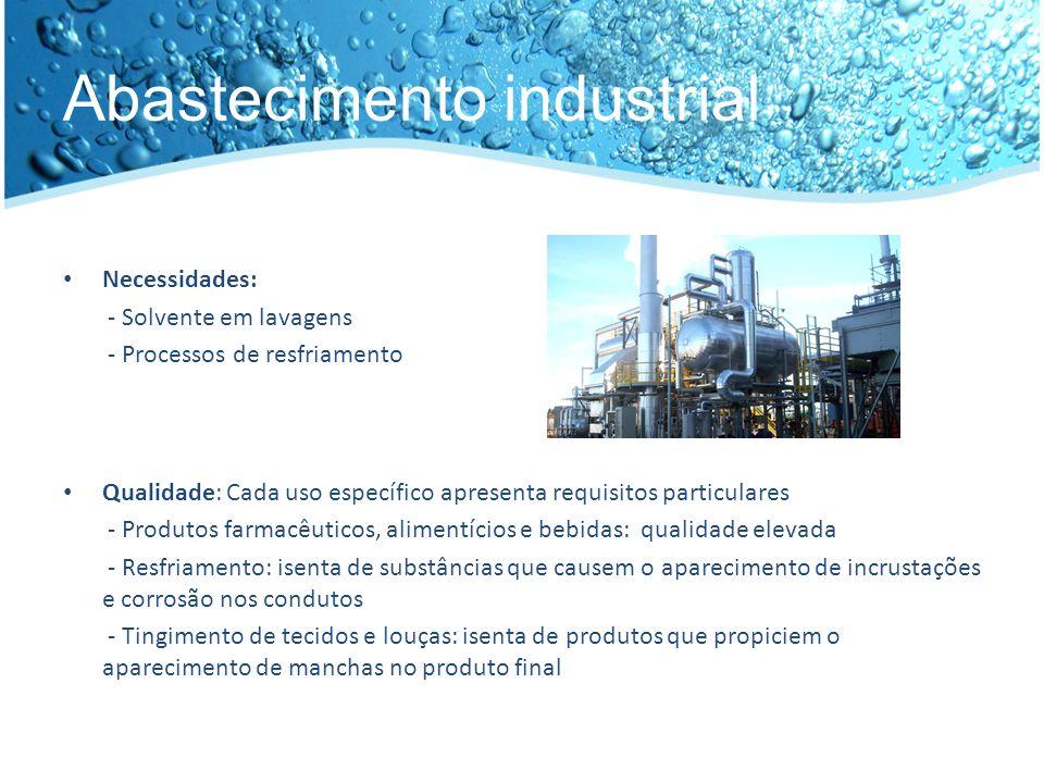 Tratamento de água Remoção da dureza: remoção dos elementos que conferem dureza à água (como cálcio e magnésio).