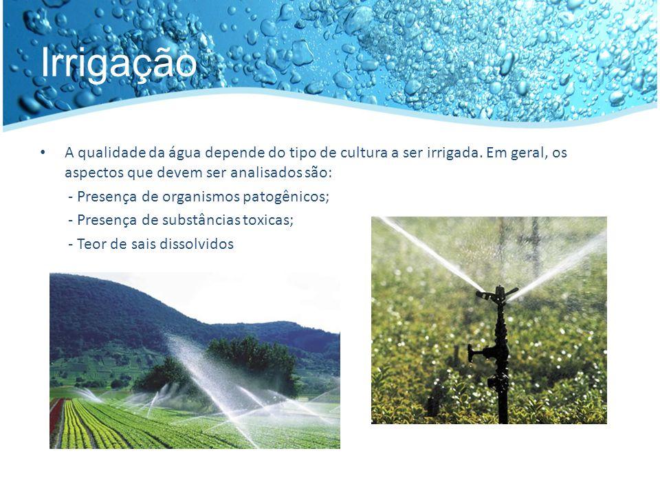 Geração de energia elétrica Os requisitos de controle para a qualidade da água são pouco restritivos Tipos de Usinas: - Termoelétricas: geração de vapor - Hidroelétricas: aproveitamento da energia cinética ou potencial Impactos ambientais negativos: - Aquecimento da água; - Alteração do curso natural de rios; - Alteração do ecossistema