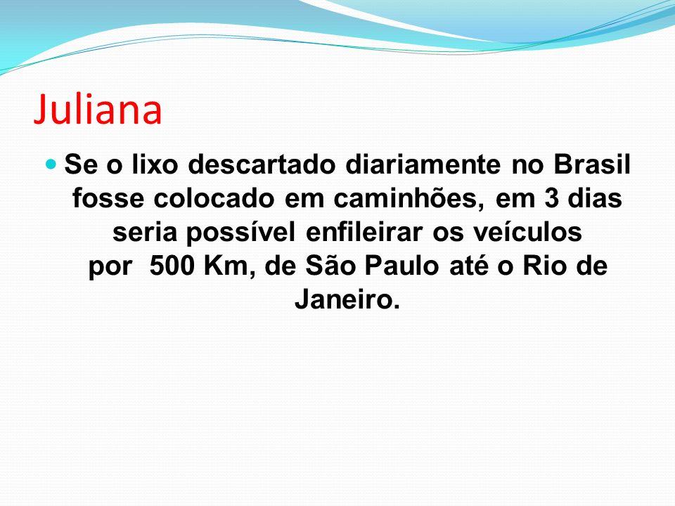 Juliana Se o lixo descartado diariamente no Brasil fosse colocado em caminhões, em 3 dias seria possível enfileirar os veículos por 500 Km, de São Paulo até o Rio de Janeiro.