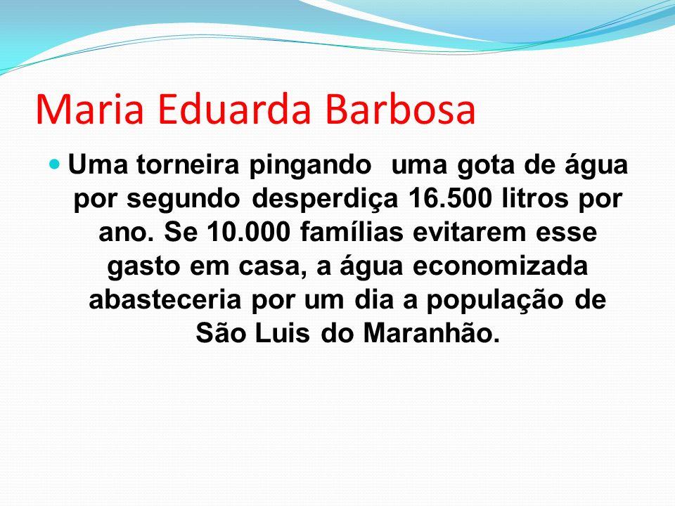 Maria Eduarda Barbosa Uma torneira pingando uma gota de água por segundo desperdiça 16.500 litros por ano. Se 10.000 famílias evitarem esse gasto em c