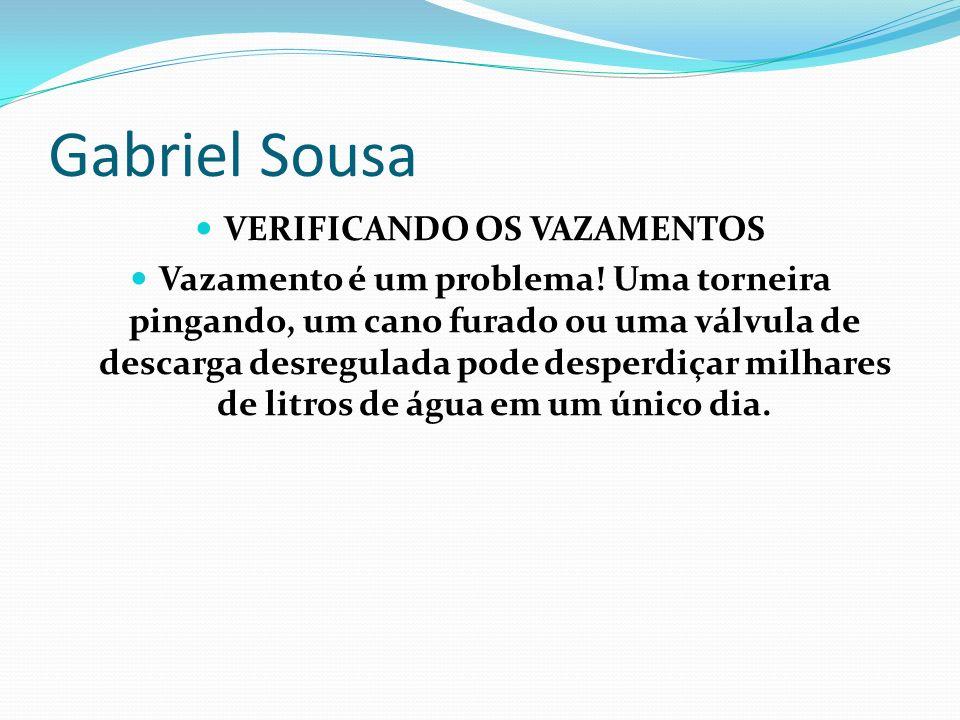 Gabriel Sousa VERIFICANDO OS VAZAMENTOS Vazamento é um problema! Uma torneira pingando, um cano furado ou uma válvula de descarga desregulada pode des