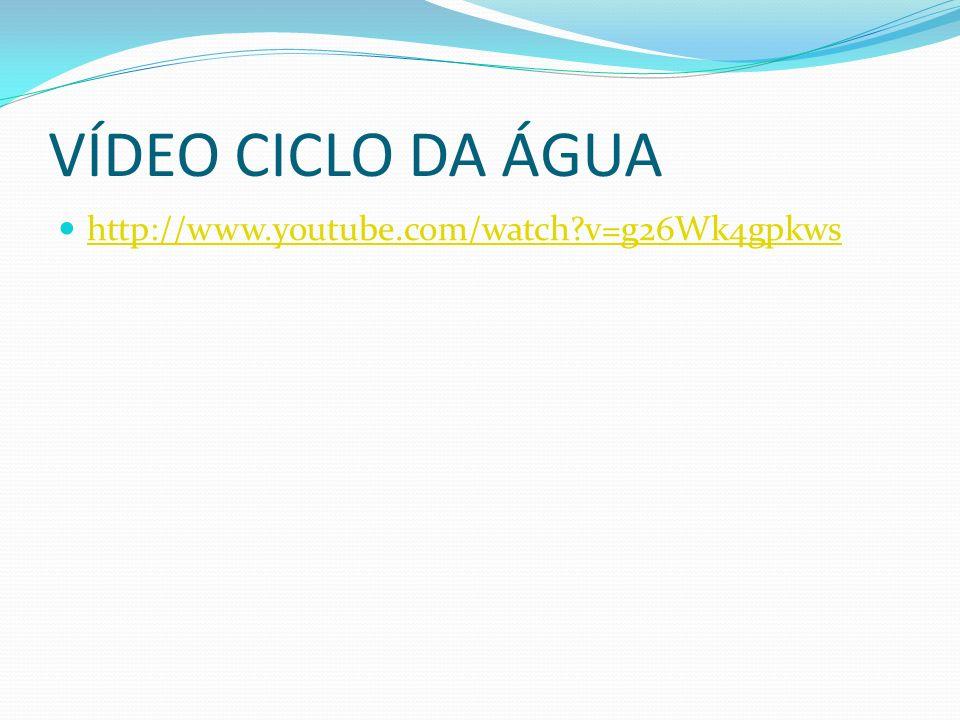 VÍDEO CICLO DA ÁGUA http://www.youtube.com/watch?v=g26Wk4gpkws