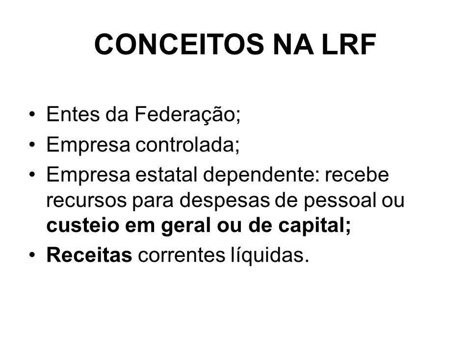 CONCEITOS NA LRF Entes da Federação; Empresa controlada; Empresa estatal dependente: recebe recursos para despesas de pessoal ou custeio em geral ou de capital; Receitas correntes líquidas.