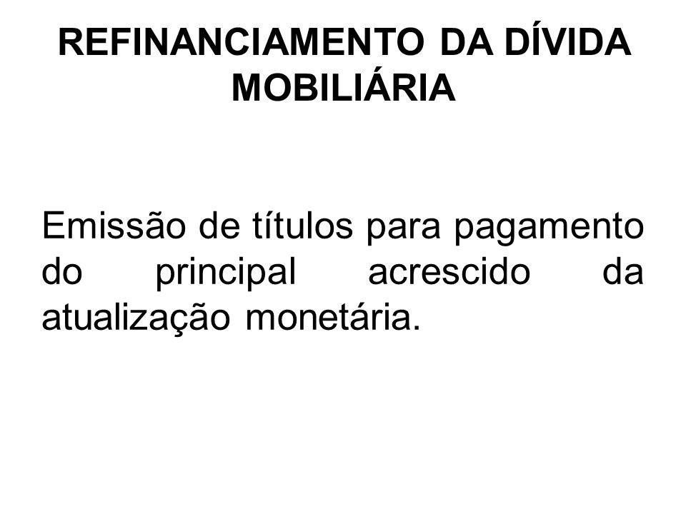 REFINANCIAMENTO DA DÍVIDA MOBILIÁRIA Emissão de títulos para pagamento do principal acrescido da atualização monetária.