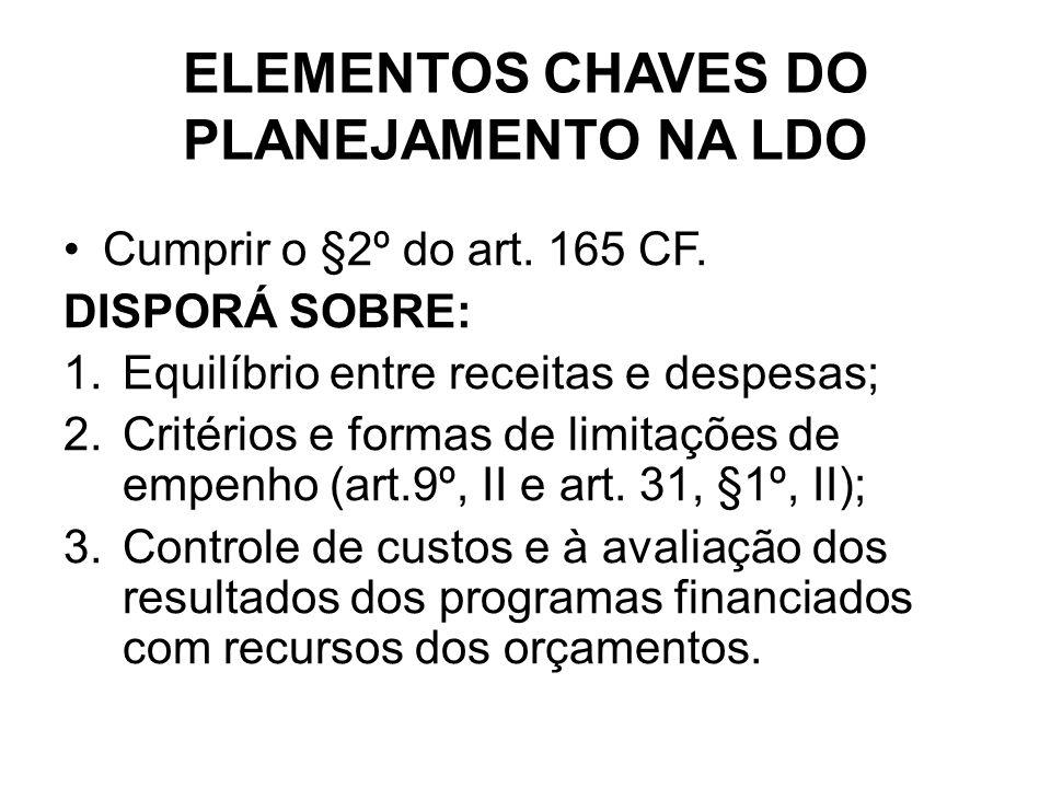 ELEMENTOS CHAVES DO PLANEJAMENTO NA LDO Cumprir o §2º do art.
