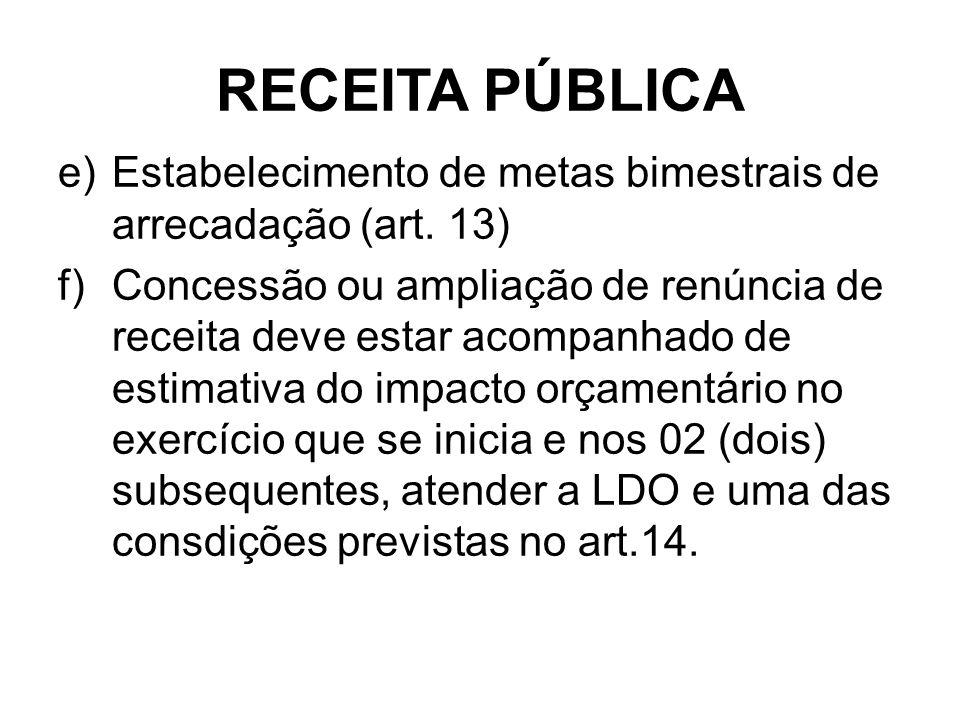 RECEITA PÚBLICA e)Estabelecimento de metas bimestrais de arrecadação (art.