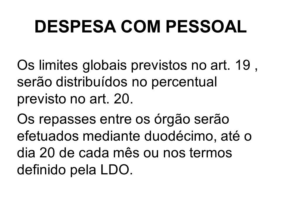 DESPESA COM PESSOAL Os limites globais previstos no art.