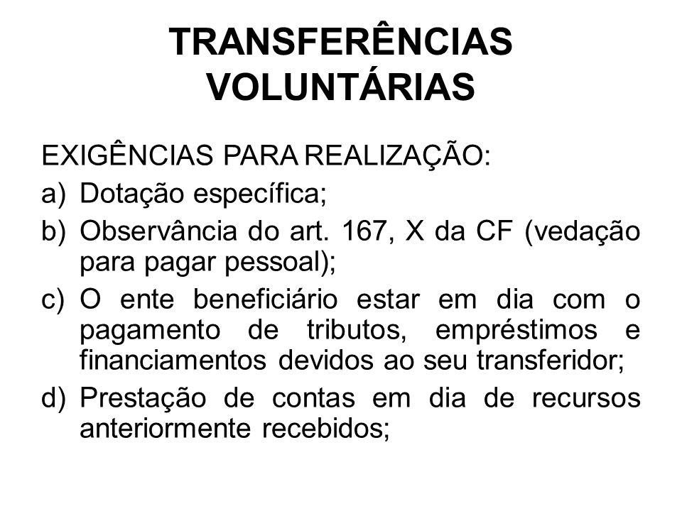 TRANSFERÊNCIAS VOLUNTÁRIAS EXIGÊNCIAS PARA REALIZAÇÃO: a)Dotação específica; b)Observância do art.