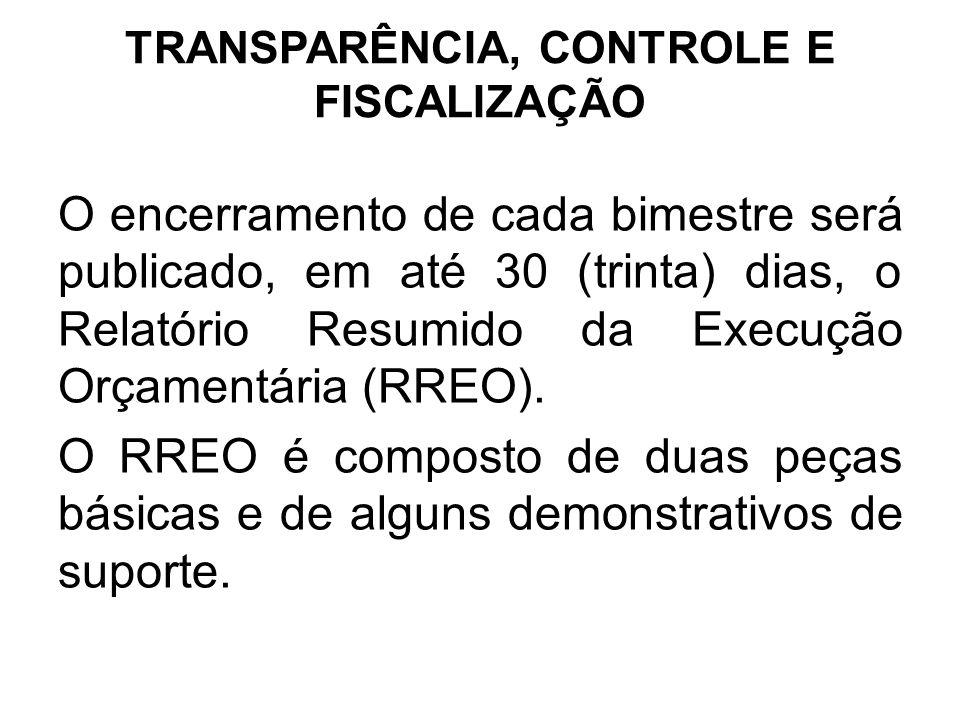 TRANSPARÊNCIA, CONTROLE E FISCALIZAÇÃO O encerramento de cada bimestre será publicado, em até 30 (trinta) dias, o Relatório Resumido da Execução Orçamentária (RREO).