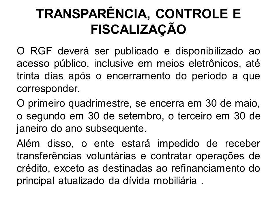 TRANSPARÊNCIA, CONTROLE E FISCALIZAÇÃO O RGF deverá ser publicado e disponibilizado ao acesso público, inclusive em meios eletrônicos, até trinta dias após o encerramento do período a que corresponder.
