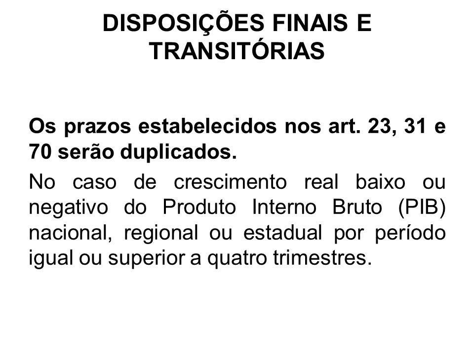 DISPOSIÇÕES FINAIS E TRANSITÓRIAS Os prazos estabelecidos nos art.