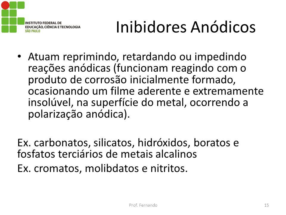 Inibidores Anódicos Atuam reprimindo, retardando ou impedindo reações anódicas (funcionam reagindo com o produto de corrosão inicialmente formado, oca