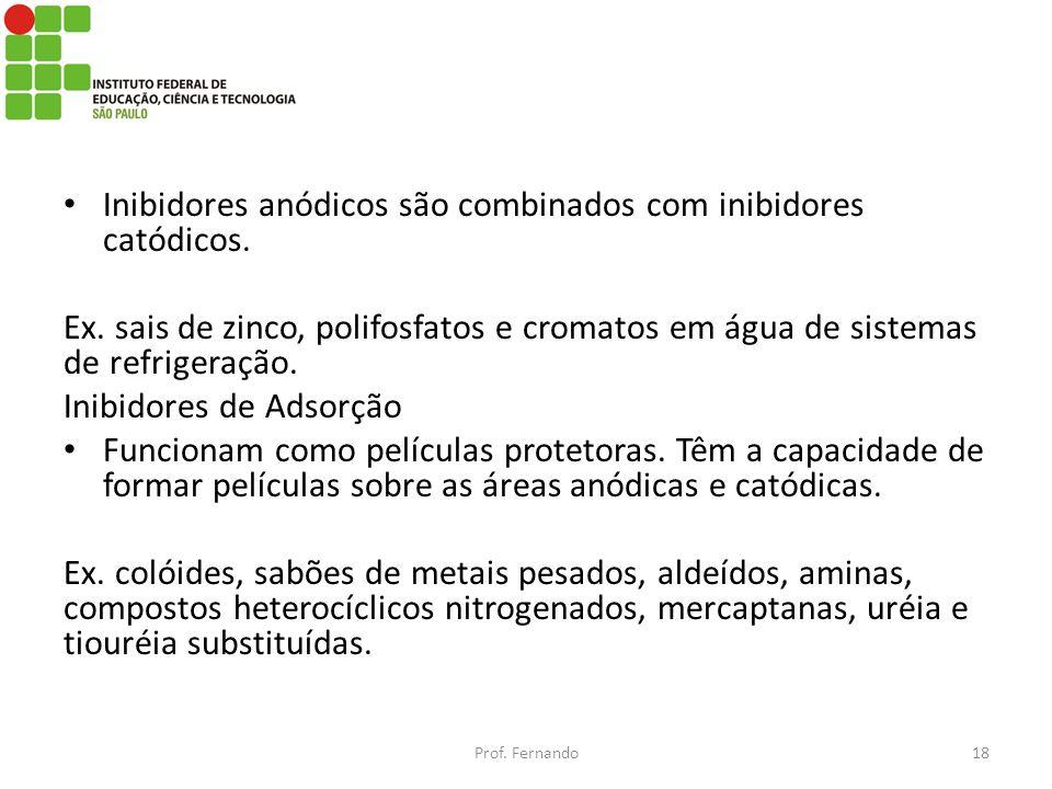 Inibidores anódicos são combinados com inibidores catódicos. Ex. sais de zinco, polifosfatos e cromatos em água de sistemas de refrigeração. Inibidore
