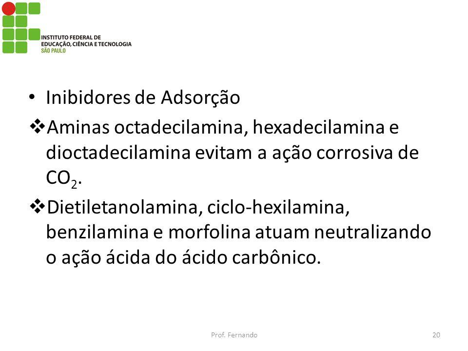 Inibidores de Adsorção Aminas octadecilamina, hexadecilamina e dioctadecilamina evitam a ação corrosiva de CO 2. Dietiletanolamina, ciclo-hexilamina,