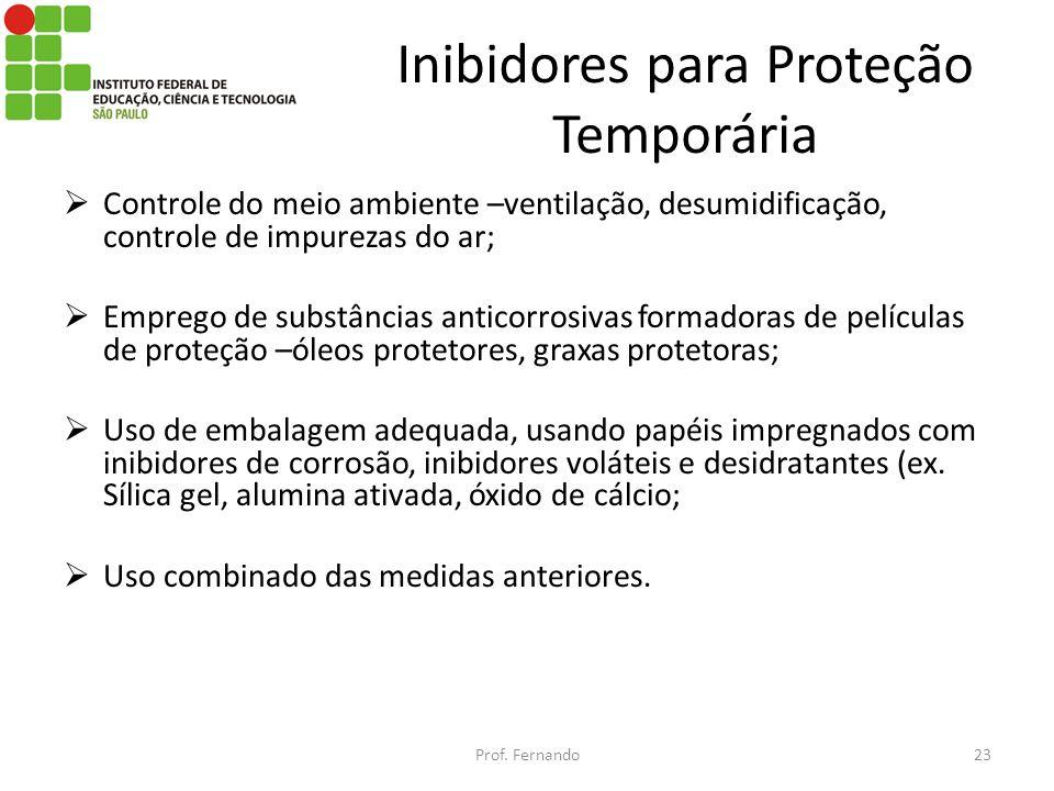 Inibidores para Proteção Temporária Controle do meio ambiente –ventilação, desumidificação, controle de impurezas do ar; Emprego de substâncias antico