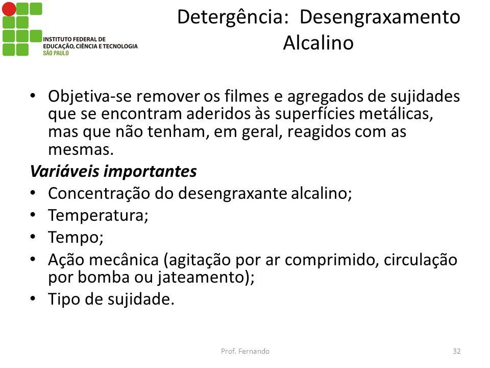 Detergência: Desengraxamento Alcalino Objetiva-se remover os filmes e agregados de sujidades que se encontram aderidos às superfícies metálicas, mas q