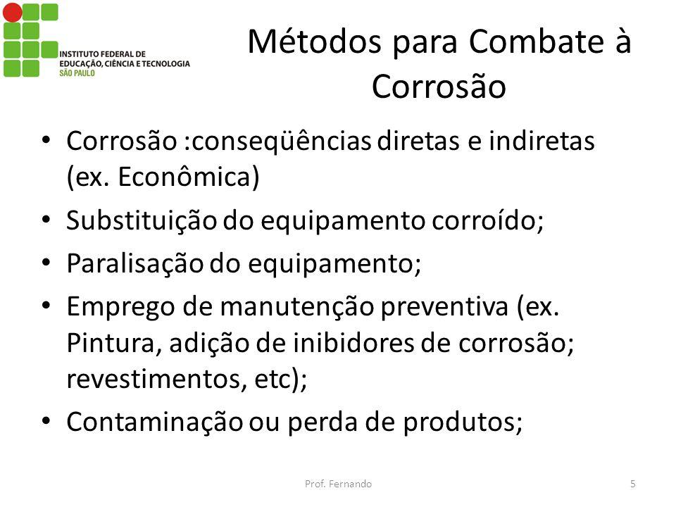Métodos para Combate à Corrosão Corrosão :conseqüências diretas e indiretas (ex. Econômica) Substituição do equipamento corroído; Paralisação do equip