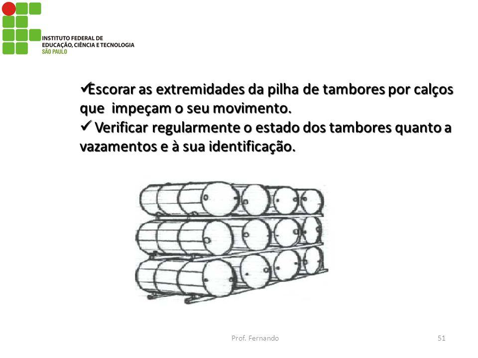 Escorar as extremidades da pilha de tambores por calços que impeçam o seu movimento. Escorar as extremidades da pilha de tambores por calços que impeç