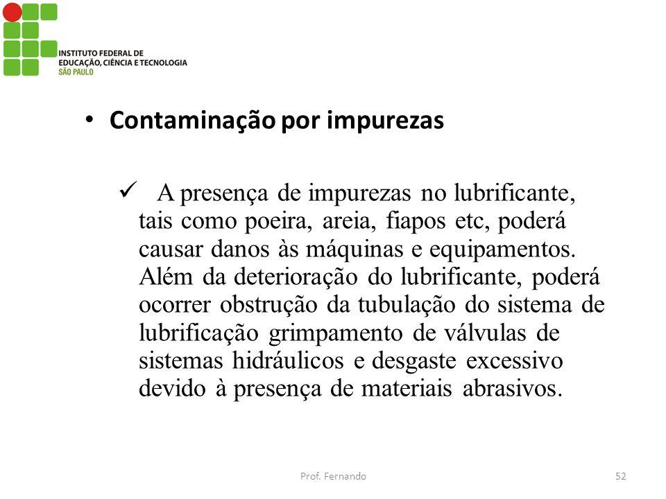 Contaminação por impurezas A presença de impurezas no lubrificante, tais como poeira, areia, fiapos etc, poderá causar danos às máquinas e equipamento