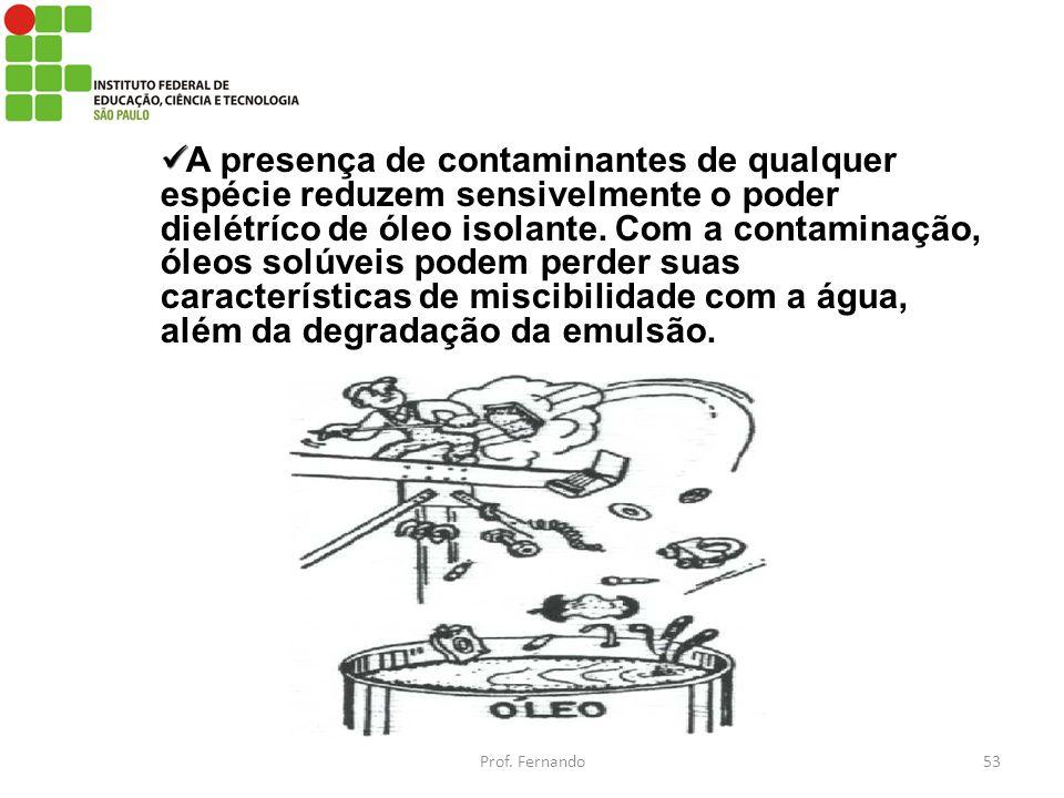 A presença de contaminantes de qualquer espécie reduzem sensivelmente o poder dielétríco de óleo isolante. Com a contaminação, óleos solúveis podem pe