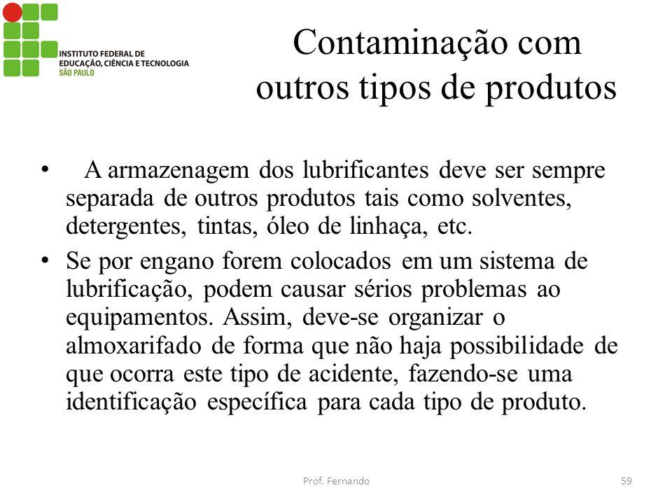 Contaminação com outros tipos de produtos A armazenagem dos lubrificantes deve ser sempre separada de outros produtos tais como solventes, detergentes