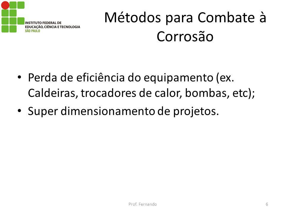 Métodos para Combate à Corrosão Perda de eficiência do equipamento (ex. Caldeiras, trocadores de calor, bombas, etc); Super dimensionamento de projeto
