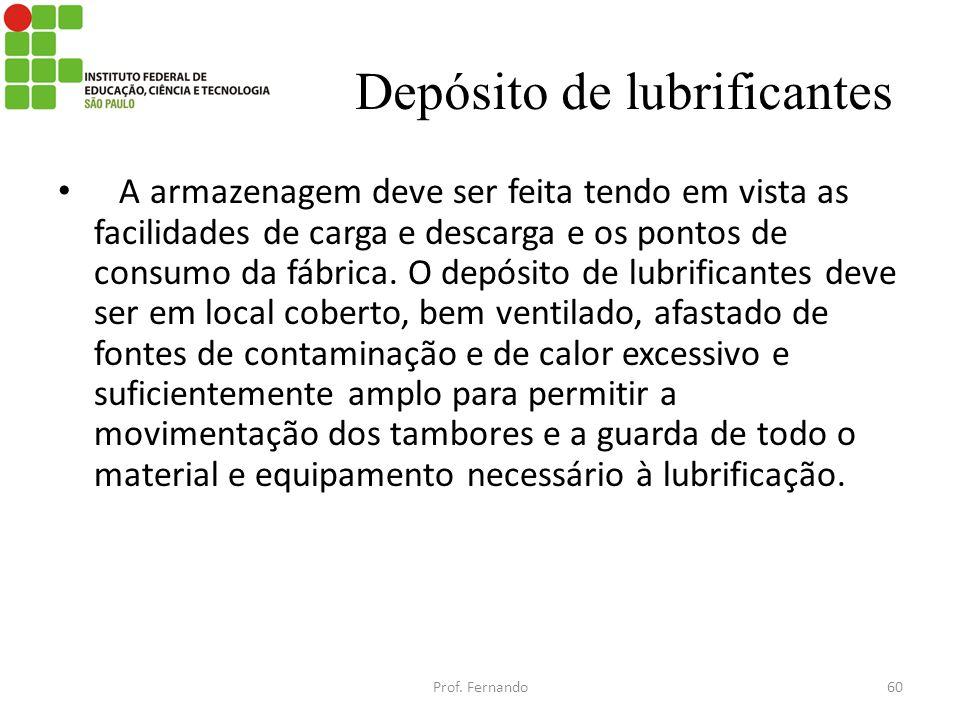 Depósito de lubrificantes A armazenagem deve ser feita tendo em vista as facilidades de carga e descarga e os pontos de consumo da fábrica. O depósito