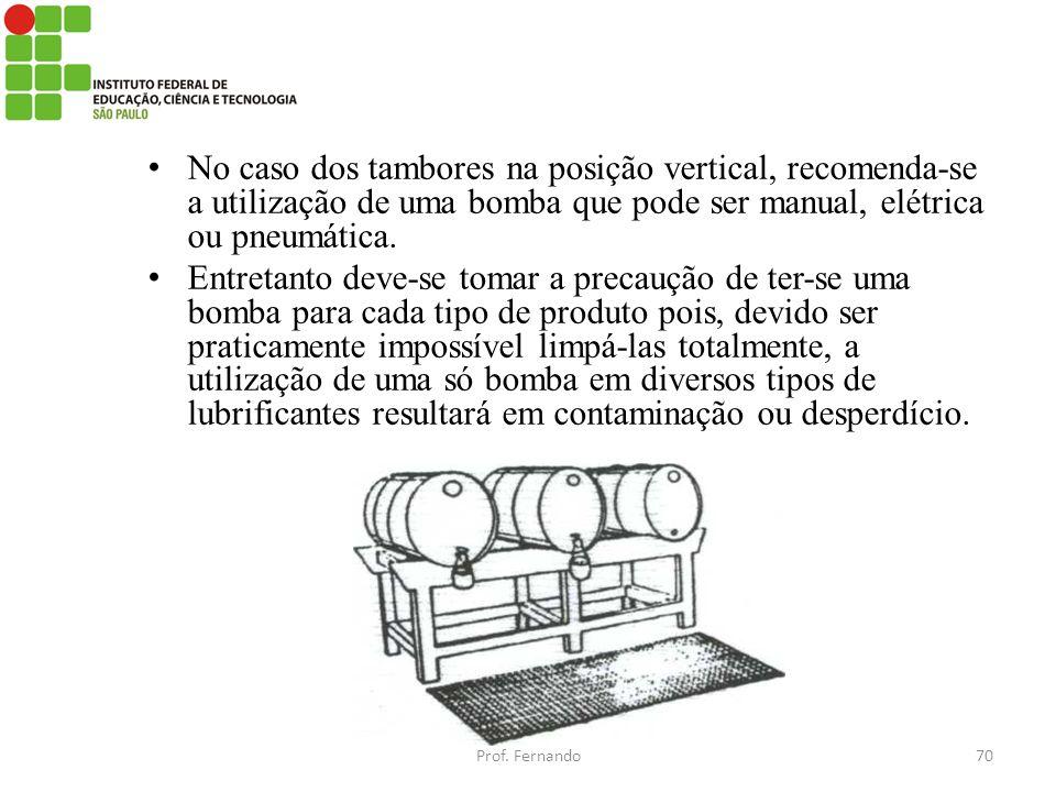 No caso dos tambores na posição vertical, recomenda-se a utilização de uma bomba que pode ser manual, elétrica ou pneumática. Entretanto deve-se tomar